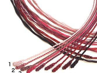 マクラメ編みネックレス紐【つる】レッド・ピンク系の画像