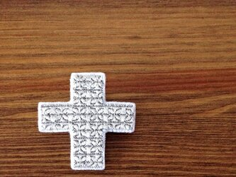 刺繍ブローチ 「クロス:シルバー」の画像