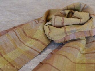 経緯和綿手紡ぎマフラー  (草木染め、茶綿)の画像