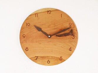 木製 掛け時計 丸 桜材4の画像