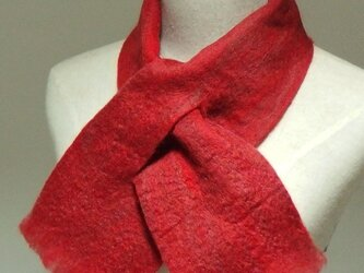 赤ミックスの フェルトマフラー ミニの画像