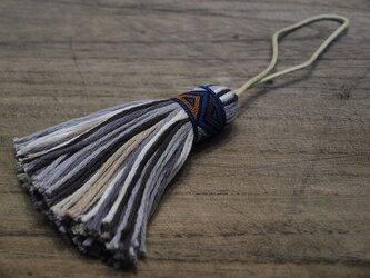 ✤オリエンタルタッセル✤ 【幾何学模様】アジアン/オリエンタル系 バッグチャーム・キーホルダー 青リボン×ブラックの画像