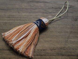 ✤オリエンタルタッセル✤ 【幾何学模様】アジアン/オリエンタル系 バッグチャーム・キーホルダー 青リボン×オレンジの画像