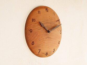 木製 掛け時計 丸 桜材5の画像