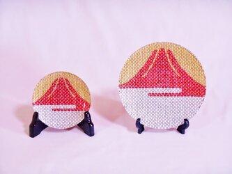 #令和 #おめでたい ガラス製 #豆皿・#飾り皿 #赤富士 ミニ #縁起物 #お正月の画像