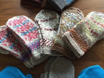 受注生産 手編みミトン手袋の画像