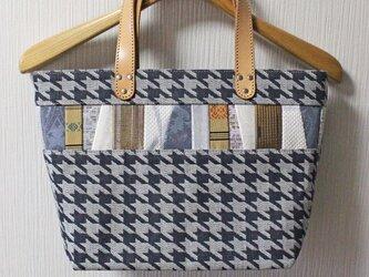博多織×デニムトートバッグ「連」S ブラック グレー 千鳥格子柄×レザー(LT-42)の画像