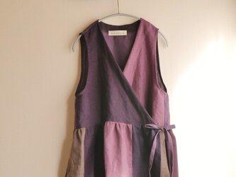 リネンカシュクールドレス(紫グラデーション)の画像