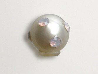 本真珠のピアスキャッチ(スワロフスキー入りピンクオパール)の画像