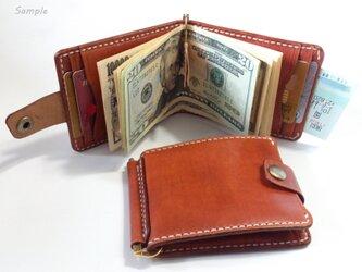 巾85mmフラットになるマネークリップ カード4枚+マルチポケット 札ばさみ MC-10rb ヌメ革 赤茶の画像