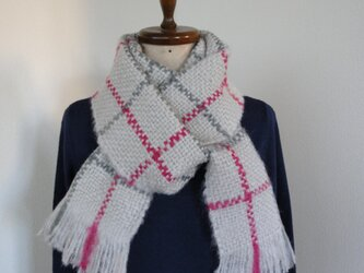 手織り 秋冬 格子柄ストール シルバーグレイの画像