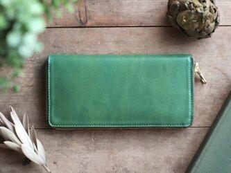 草木染革・藍&苅安[migaki] ×オイルレザー ラウンドファスナー長財布の画像