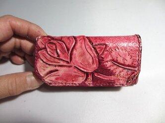 バラの花のキーケース三つ折りの画像