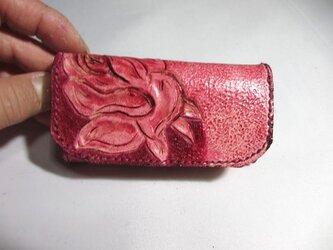 バラの花のキーケース 三つ折りの画像