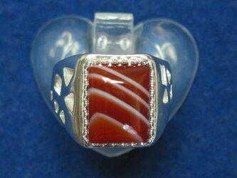 四角いメノウのリングの画像