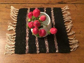 kazenoneko【風の猫】の草木染&裂き織ミニマット【しましま】の画像