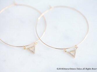 【14KGF】Hoop Earrings,CZ Triangleの画像