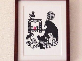 童話切り絵「しらゆきべにばら」の画像