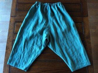再販*受注製作~上質リネン100%*すっきりシルエットのサルエル風パンツ*青緑の画像