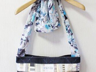 博多織トートバッグ「結」M ライトブルーリボン×インディゴブルー格子柄(YUI-25)の画像