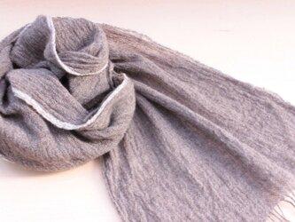 手織り ヤク 軽いマフラー 白ライン の画像