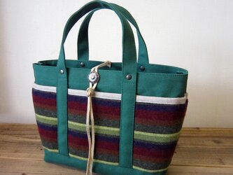 「wool tote」S グリーン×ボーダーの画像