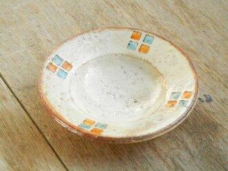 豆皿 百色(ももいろ)象嵌 四角紋水色橙の画像