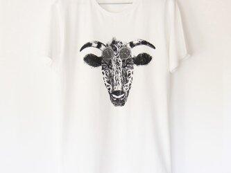 ウシくんのTシャツ white×blackの画像