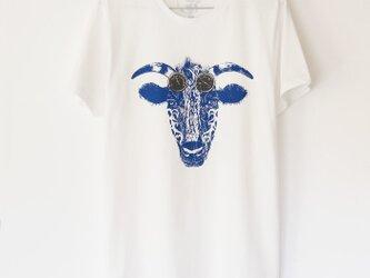 ウシくんのTシャツ white×blueの画像