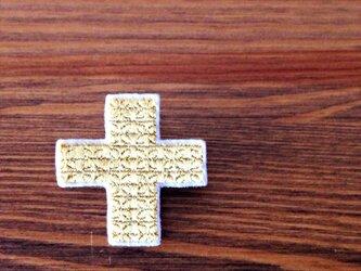 刺繍ブローチ「クロス:ゴールド」の画像