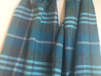 カシミヤストール ブルー×グリーン 3の画像