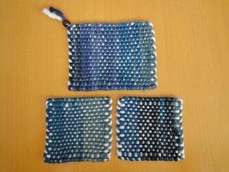 手織り ポットマット&コースターset ネイビー系の画像