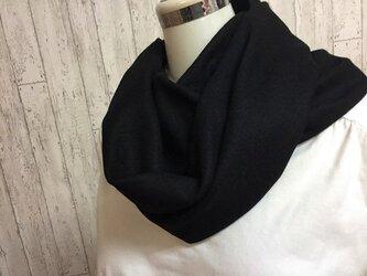 暖かウール100% 圧縮ニットのスヌード 黒 の画像