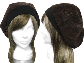ベロア加工レース/リブ付ベレー帽(ゆったり)◆ブラウンの画像