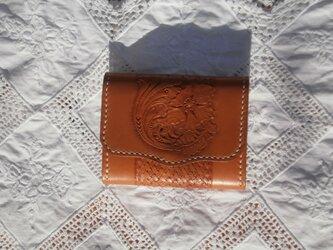 本革(牛革)二つ折りコインケース【ハンドメイド】の画像