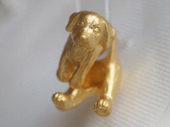 垂れ耳犬ピアス/マットゴールド 片耳の画像