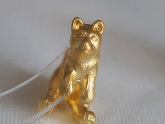 立ち耳犬ピアス/マットゴールド 片耳の画像