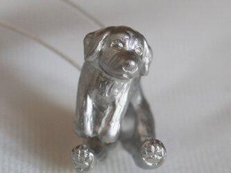 垂れ耳犬ピアス/マットシルバー 片耳の画像