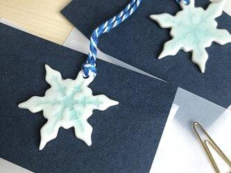 陶製オーナメント -雪の結晶- (アイスブルー) の画像