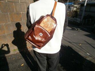 本革(牛革)のボンサック&リュックサックの2WAYバッグの画像