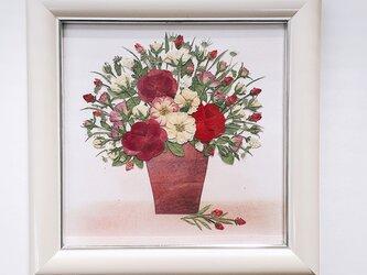 バラ花かご(15×15サイズ)額付きの画像