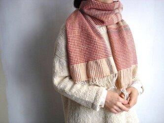 Tidori 手織りのマフラー (赤グレンチェック)の画像