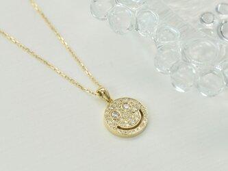 K18YG ダイヤモンド0.25ct パヴェスマイルネックレスの画像