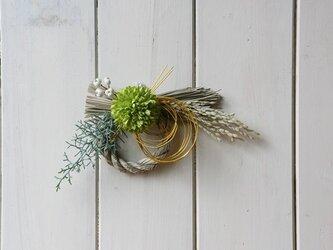菊の注連縄リース 黄緑の画像