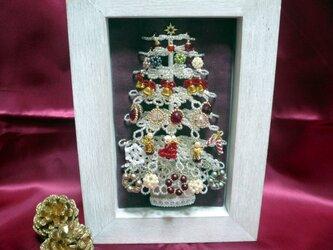ビーズのクリスマスツリー(ホワイト)サイズ(M)【平面額入り】の画像