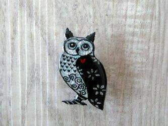 フクロウのピカピカブローチの画像