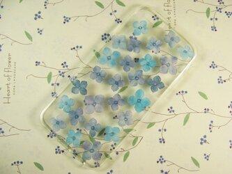 手染め布花 ブルー系のアジサイ(紫陽花)のiPhone6/6s/7ケースの画像