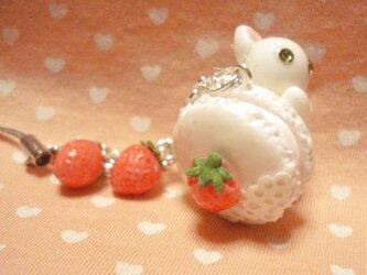 にゃんこのしっぽ○苺マカロンストラップ○白猫○ミニチュアの画像