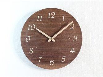 ブラックウォールナットで作った掛け時計(受注製作) 直径29㎝の画像