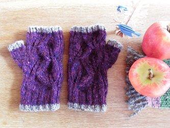 羊毛100% 葉っぱ模様の指なし手袋「リーフ」/ Blackberry(ブラックベリー)の画像